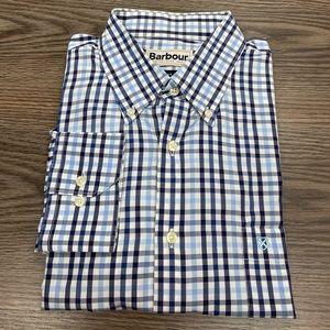 Barbour White, Blue & Navy Plaid Shirt L